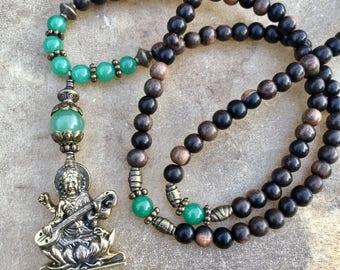 Brass Saraswati Necklace 108 mala beads  Saraswati Pendant Green Aventurine gift for Yogi Jewelry Hindu Goddess Jewelry Yoga Gifts