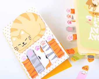 Cat Sticky Notes, kawaii cats stationery, cat memo pad, cute sticky tabs, planner tabs, cat post it notes, cat lady gift, cat lover present