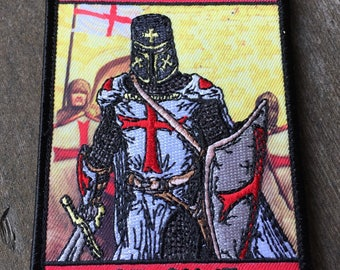 With Your Shield Or On It Morale Patch Sword Templar Cross Shield God Wills It quality embroidery detailed
