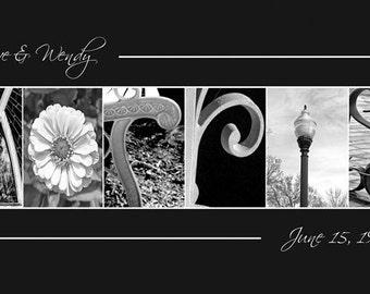 Alphabet Photography -  Custom WEDDING GIFT Name Frame Print 10x20 (Unframed)