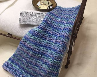 Shabby Chic Handmade Miniature Dollhouse Small Bed Throws - Hand Knitted  - Blue/Lavander Multi