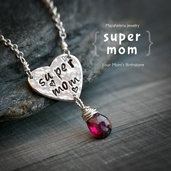 Super Mom - Heart Tag and a Birthstone Charm Sterling Silver Necklace