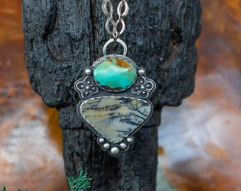 Boho Necklace, Sterling Silver Necklace, Turquoise Necklace, Dendritic Agate Necklace, Handmade Necklace, Boho necklace, Silver Jewelry