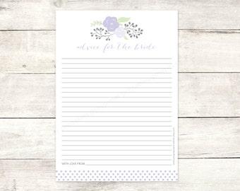bridal shower advice card printable DIY lavender purple bouquet polka dots wedding shower bridal shower digital games - INSTANT DOWNLOAD