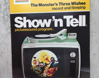 Gabriel Show'N Tell The Monster's Three Wishes, Sesame Street  PBS, Jim Henson, Muppets, Kid's Room, Child's Room, Vintage Nursery WTH-1598