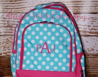 Aqua Dot Backpack Viv & Lou® Monogram, Viv and Lou Backpack, Personalized Backpack, Monogram Backpack, Personalized Backpack, Dot Backpack