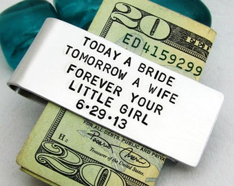 Father of the Bride Personalized Money Clip - Hand Stamped Accessories for Dad - Custom Mens Gift - Groomsmen Gift  Gift for Dad