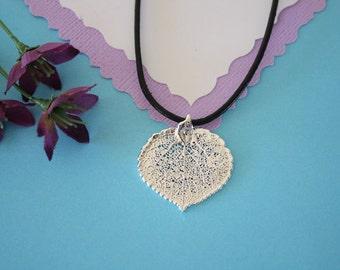 SALE Leaf Necklace, Silver Aspen Leaf, Real Leaf Necklace,Silver Aspen Leaf Pendant, SALE112