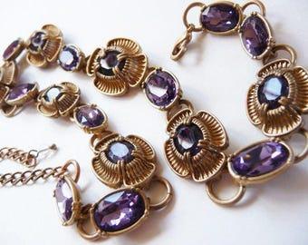 Vintage faux amethyst gold tone necklace | romantic royal purple lavender stones | matte gold finish | unsigned beauty