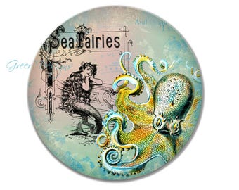Mermaid Octopus Sea Fairies Illustration Victorian Vintage ThermoSaf 10 inch Art Plate