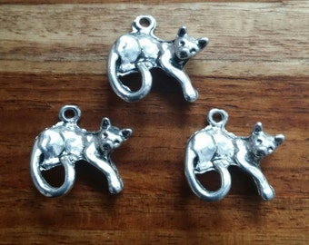 """3 American Pewter 3D Detailed Cat Charm 1"""""""
