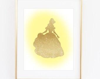 Disney Princess Wall Art - Cinderella, Belle, Rapunzel, Ariel, Tiana, Aurora, Snow White, Jasmine, Pocahontas, Girls Room Decor