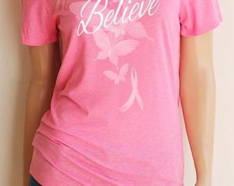 Believe Pink Breast Cancer Crew Neck T-Shirt