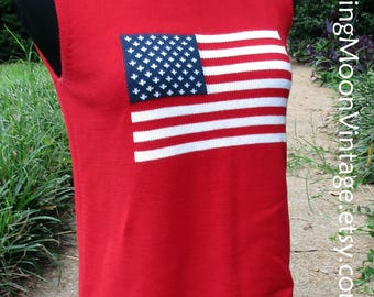 VINTAGE 70s sweater vest, FLAG shirt, knit TANK top, sleeveless sweater red white blue, Hipster Kitsch Retro patriotic Americana, all cotton
