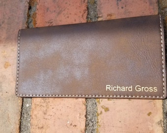 Personalized Engraved Rustic Leather Checkbook Cover, Checkbook Wallet
