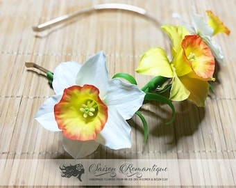 Hairband White Daffodils - Polymer Clay Flowers- Mothers Day Gift for Women White Yellow Flower For Kids For Girl Narcissus