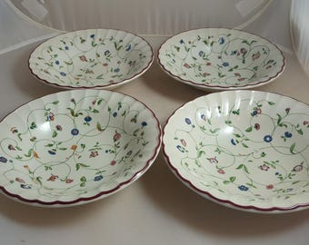 Oakwood by Staffordshire 4 Cereal Bowls Red Trim