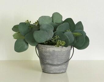 Eucalyptus in a Gray Pot, Rustic Eucalyptus Centerpiece, Faux Eucalyptus, Eucalyptus Arrangement, Gray Decor, Silver Dollar Eucalyptus