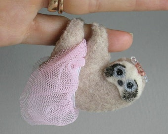 Sloth princess miniature felt plushie stuffed animal -princess dress- crown- handmade rain forest animal- gift for her-girlfriend gift- cute