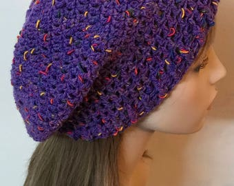 Purple Crochet Slouchy Beanie Dread Tam Hat