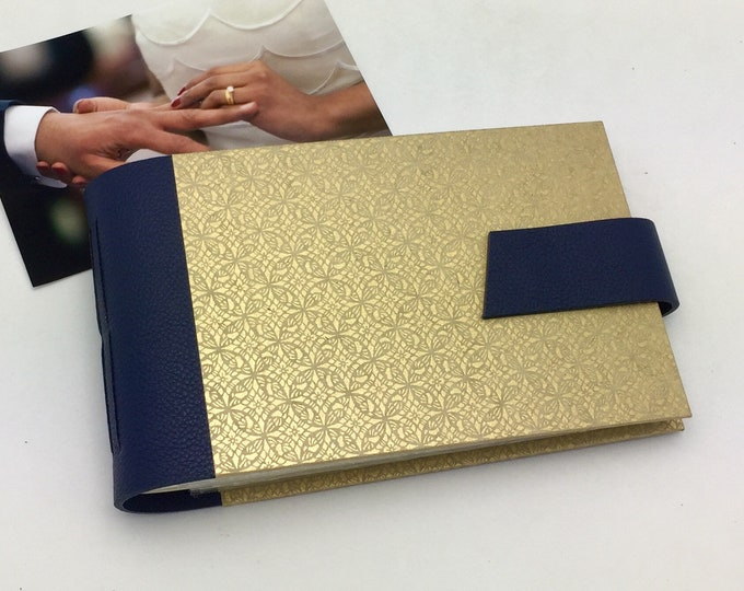Wedding Mini Photo Album, Navy Leather and Gold, Anniversary Gift, Personalize It