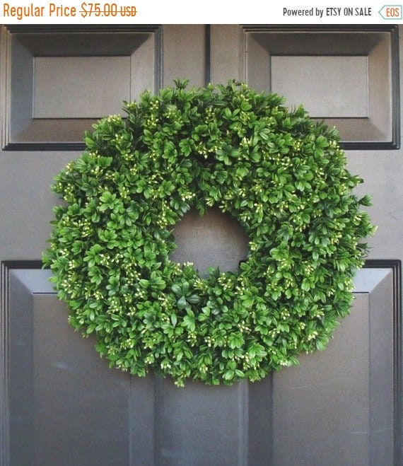 SUMMER WREATH SALE Artificial Boxwood Wreath 16 inch- Front Door Wreaths- Wedding Wreath- Sizes 14 to 30 inch available- Spring Wreath