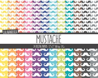 Mustache Digital Paper Pack. Rainbow Little Man Patterns. Printable Papers Set. Gentleman Baby Boy Backgrounds. Colorful  Digital Scrapbook
