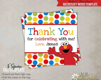 Elmo Party Favor Tag, Children's Sesame Street Birthday Printable, Instant Download #B103-B