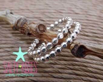 Sterling Silver hammered beaded polka dot stacking ring set of 2 shiny patina thick band
