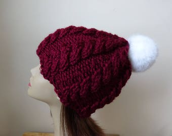 Cable Knit Hat Faux Fur Pompom Women Winter Hat Chunky Knit Hat Burgundy Hat White Pompom Acrylic Hat - Ready to Ship - Gift for Her