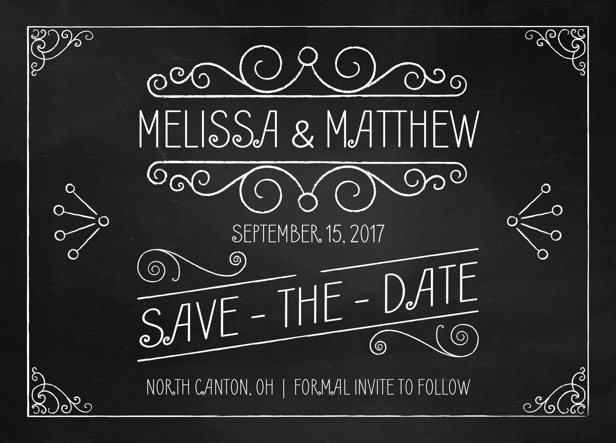 Attractive Chalkboard Save the Date Printed - Black and White, Chalk, Board  KN62