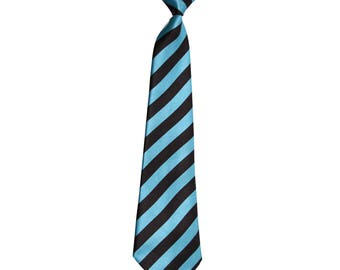 Toddler Black and Blue Striped Tie