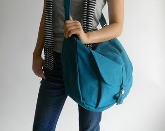 Teal messenger bag ,diaper bag,Travel shoulder bag,Tote bag,School canvas laptop Purse, Cross body bag/ Sale 25% -  /  no.12 KYLIE