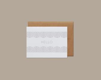Hello Letterpress Folk Embroidery Pattern Card