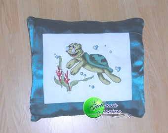 A turtle cross stitch Embroidered Pillow