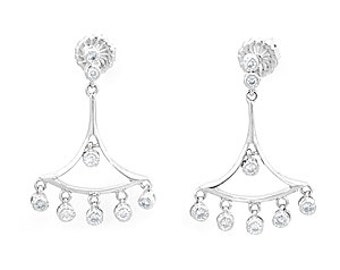 Chandelier Diamond Dangling Earrings, 14K White Gold Ladies Earrings, Ladies Fine Jewelry