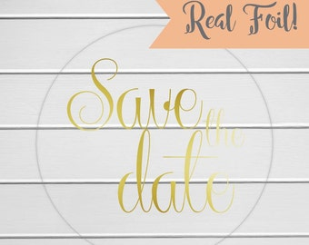 Save the Date Stickers, Gold Foil on Clear Transparent Save the Date Envelope Seals, Save The Date Stickers (#151-CF)