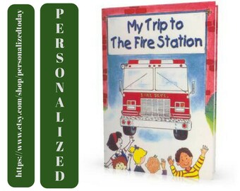 Fire Book My Trip To The Fire Station Custom Name Personalized Educational Safety Book Fire Trucks Hardcover Children's Fiction Ages 4 to 10