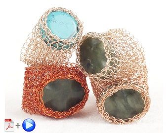 Jewelry Pattern,Ring DIY tutorial,Mesh ring pattern,Crochet Patterns for Woman,Crochet Patterns Jewelry,Wire Wrapped Ring,Stone Ring Pattern