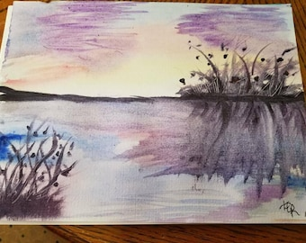 Mystic Sunset/Orginal watercolor painting