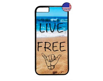 Cool Waves Surf Shaka Live Free Quote Hard Rubber TPU Slim Case Cover for iPhone X 8 7 6 6s PLUS 5 5s SE 5C 4 4s iPod Touch 4 5 6