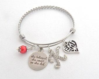 EMT Gift, EMT Bracelet, Gifts for Paramedics, Graduate, First Responder Bangle, EMS Gift, Ambulance Emergency Medical Technician Jewelry