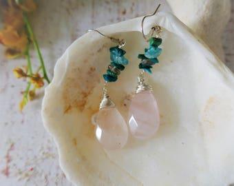 Rose quartz turquoise apatite gemstones on sterling silver hooks
