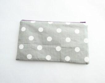 Large Make up Bag - Polka Dot Bag - Bridesmaid clutches - Personalized Pouch - Monogram Makeup bag - Cosmetic Bag - Large