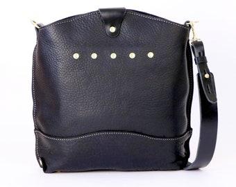BLACK Leather Shoulder Bag - CAROLINA Handbag