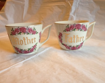 Antique Transferware, Gold Lettered, Ceramic Father and Mother Matching Cups Mugs