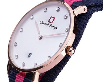 Classic Women Diamond Rose Gold with Dark Pink Strap
