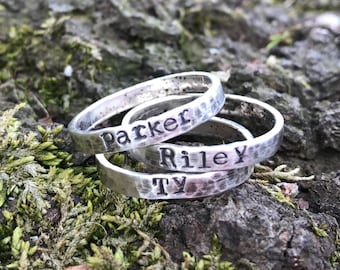 Hand stamped personalized Sterling Silver Narrow Stacking rings - Jewelry Handstamped Names Children Mom Mother three Kids Mommy Trendy