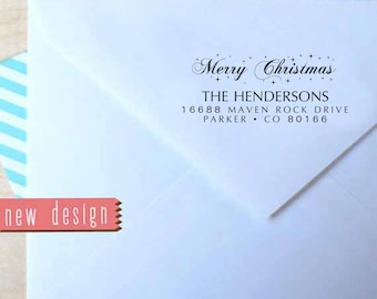 CUSTOM pre inked STAMP from USA, Holiday Address Stamp, custom address stamp, custom holiday stamp, Christmas stamp with proof rb5-21