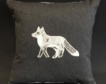 "Handmade charcoal grey Appliqué, Fox cushion, 16"""
